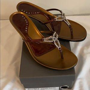 Bronze heeled sandals size 9